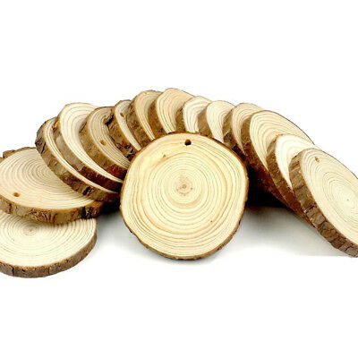 15 Pieces Lots 8-9cm Unfinished Predrilled Wood Slices Round Log Discs With