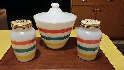 Rare Vintage Fire King Stripes Grease Jar, Salt and Pepper Range Shakers