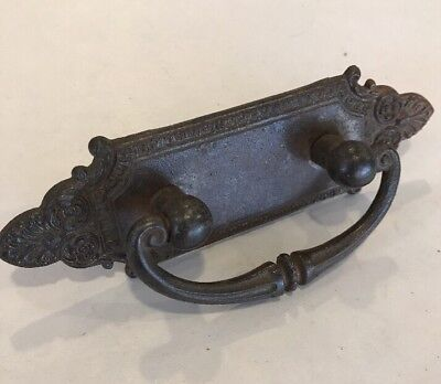 "Vintage Ornate Cast Iron Drawer Pull  5.25"" Long /  2"" holes"