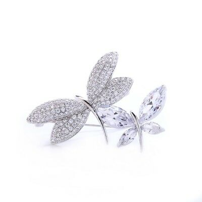 Sparkly Shiny Clear Zircon White Gold Plated Luxury Butterfly Bridal Brooch Pin