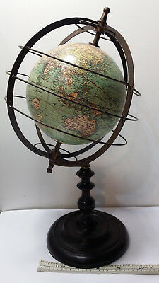 "Weber Costello Armillary Globe. Wood Base & Brass 11.5"" Tall May Be Reproduction"