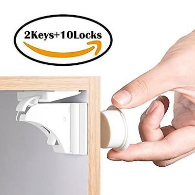10 PCS! Magnetic Cabinet Locks Safety Baby Set 10 Locks + 2 Keys Child Proof Kit