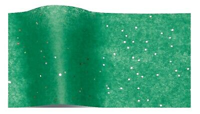 GREEN GEMSTONE WRAPPING TISSUE PAPER LARGE SHEETS ~ SPARKLY GLITTER GEM 50x75cm