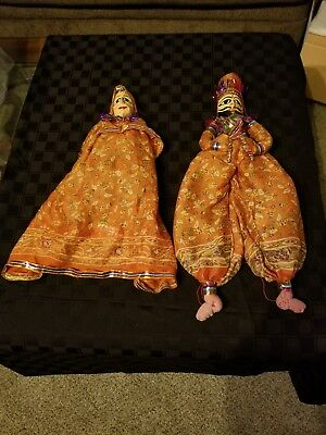 Hand Carved and painted Wood Face Puppets