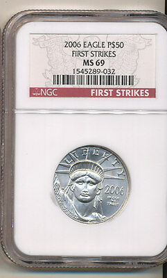 2006 NGC MS69 FIRST STRIKE $50 American Platinum Eagle 1/2 ounce .9995 LOW mintg