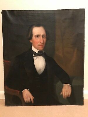 Rare 19th Century Antique Portrait Oil Painting of Man Gentleman in Coat