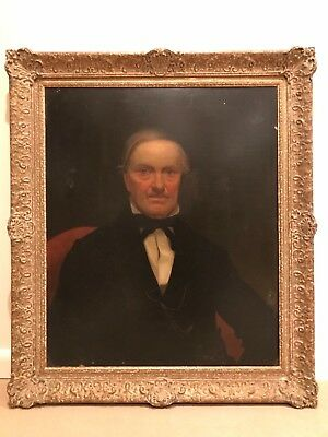 19th Century Portrait on Wood Panel - Rare Antique Oil Painting of Gentleman Man