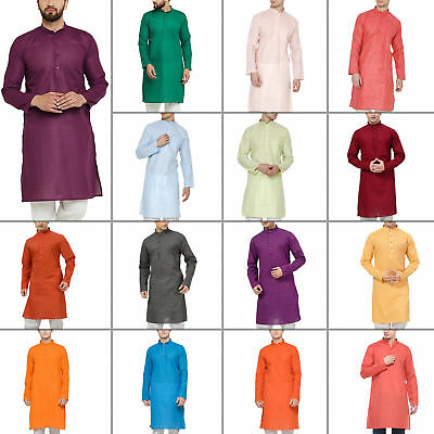 Traditional Wear Men Indian Ethnic Dress Mens Kurta Pajama Plain Shirt