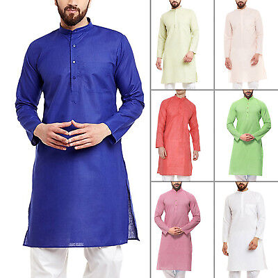 Mens Kurta Shirt Traditional Wear Indian Ethnic Dress Size S to 8XL For Gift