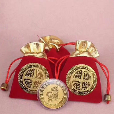 Dog Year 2018 New Year Plated Gold Lucky Coins Wealth Success Fengshui