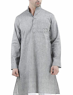 Mens Shirt Kurta Cotton Fabric Indian Ethnic Dress Mens Tunic Kurta Pajama Plain