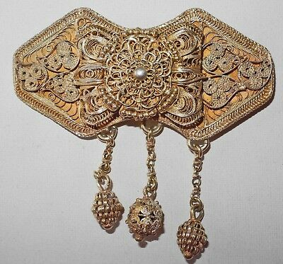 Ottoman Gilded 900/°° Silver Filigree Belt Buckle With 3 Charms Signed Et