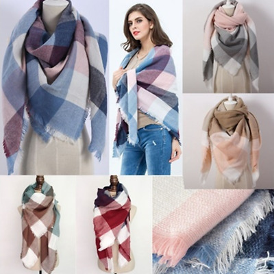 New Style Women's Oversized Tartan Scarf Wrap Shawl Plaid Cozy Checked Pashmina
