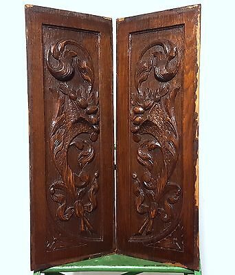 Solid Carved Wood Panel Matched Pair Antique French Bow Bowl Salvaged Carving
