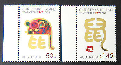 2008 Christmas Island Stamps - Lunar New Year- Year of the Rat - Set 2-Tabs MNH