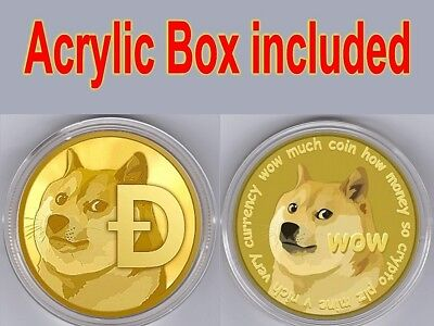 Dog Head! Gold Plated collectible Commemorative dogecoin In Protect Acrylic Case