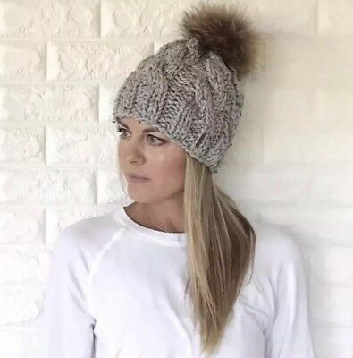 Hand knit Cable Slouchy Hat With 100% real raccoon Fur Pom Pom YOU PICK COLOR