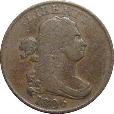 1806 Draped Bust Half Cent--Small 6, Stemless--Fine/Very Fine