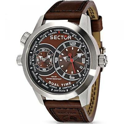 Orologio Sector Dual Time Oversize 48 mm Brown R3251102055