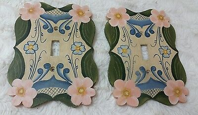 2 Light switch covers Floral Hand painted wood Blue pink green tan yellow