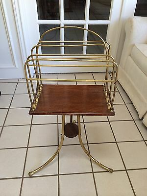 Antique Vintage English Oak Magazine Newspaper Canterbury Stand Rack Revolving
