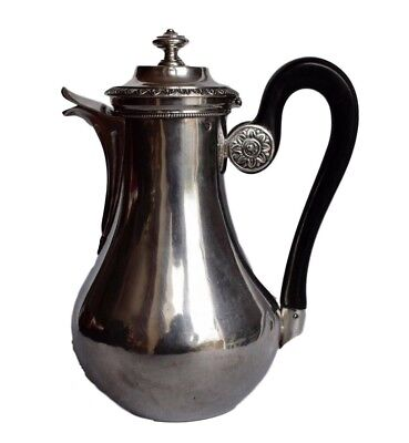 French Antique Empire Sterling Silver Coffee Tea Pot with Ebony Handle 19th.C