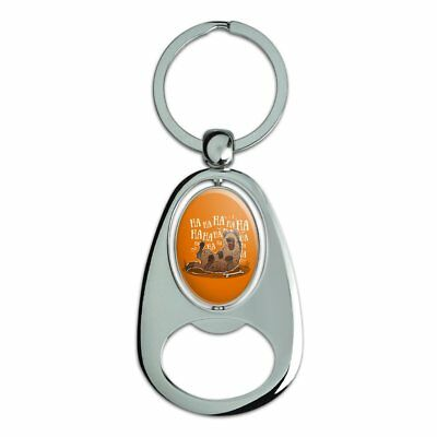 Laughing Hyena Chrome Plated Metal Spinning Oval Design Bottle Opener Keychain