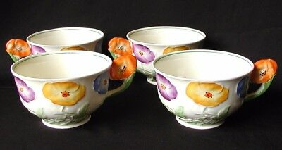 Vintage Grindley Tea Cups with Molded Pansy Flower Handles, Set of 4