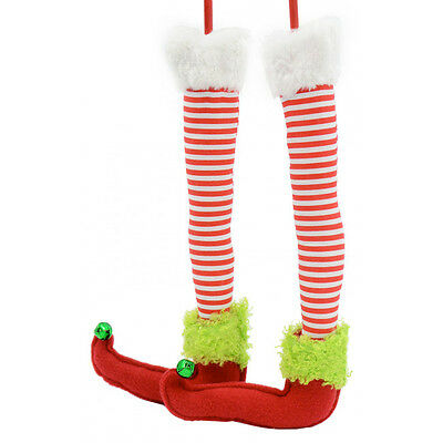 Raz Elf Legs Peppermintcandy Cane Stripe Xmas Decor Wreath Arrangement Tree