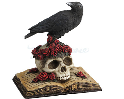 Crow Perching On Skull Sculpture With Roses On An Open Book Statue Figure