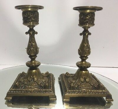 PAIR OF ANTIQUE 19th C. FRENCH ORNATE EMPIRE/LEAF BRONZE CANDLESTICK