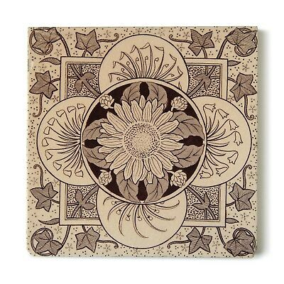 Antique Tile Victorian Aesthetic Arts & Crafts Floral Sunflower Ivy Brown Buff