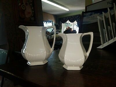"VTG REAL ENGLISH IRONSTONE White Pitcher 7-1/2"" Wm ADAMS & SONS Micratex ENGLAND"