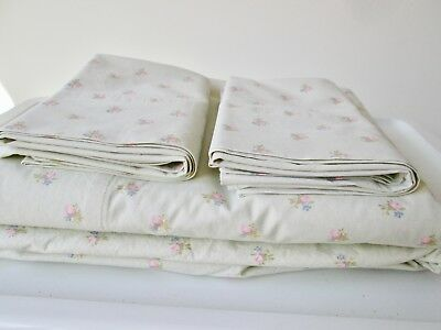 Vintage 4 pc Simply Shabby Chic FULL SIZE Bedding Set Floral Rose Bud