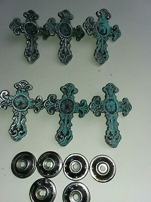 Victorian cross drawer pull handle lot of 6