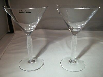 Pair of Lalique Crystal Louvre Martini Glasses with Satin Finish Stem- VERY RARE