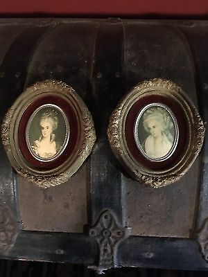 Pair of Miniature Cameo Portrait Prints Ornate French antique Women Framed