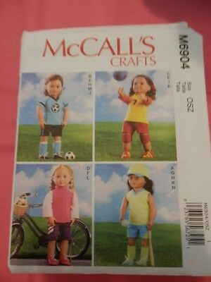 American girl doll clothes pattern McCalls 6904 for 18 in dolls OUT OF PRINT
