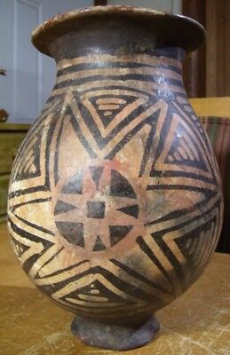 """Old Cracked Pot Precolumbian Peru Pottery Painted 11"""""""