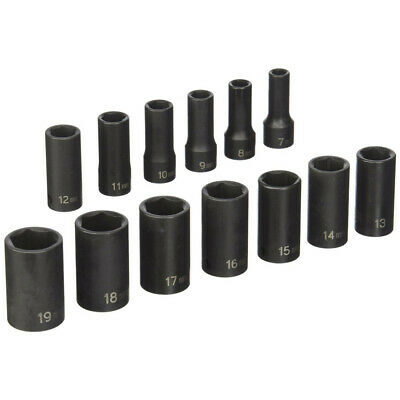 "Grey Pneumatic 13Pc 3/8"" Dr 6Pt Metric Semi-Deep Impact Socket Set 1213MSD New"