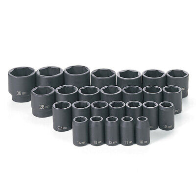 "Grey Pneumatic 26-Pc 1/2"" DR 6-Pt MM Master Standard Socket Set 1326M New"