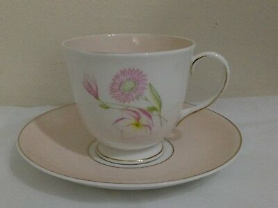 VINTAGE SUSIE COOPER Bone China Tea Cup & Saucer Duo Pink Floral Pattern C984
