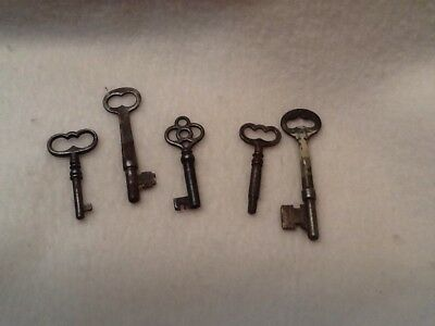 Skeleton Keys Lot of 5 Antique Victorian No Reproductions