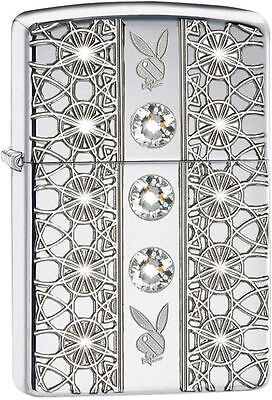 Zippo Armor Windproof Playboy Lighter With 3 Swarovski Crystals 28964 New In Box