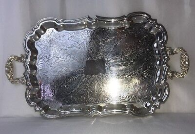 "Antique Vtg Silver Serving Tray 23"" Vanity Butler Large Footed Ornate Scalloped"