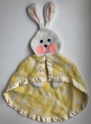 Vintage 1979 Fisher Price Yellow Plaid Lovey Security Bunny Blanket 441 442 443