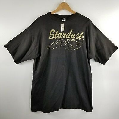 Stardust Casino T Shirt Men's XL NWT Black Gold Resort Hotel Glitter USA Retired