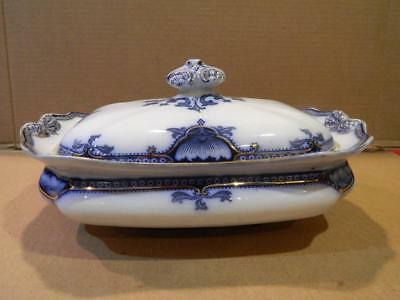 Hamilton China England Flow Blue Gold Trimmed Covered Casserole 1911