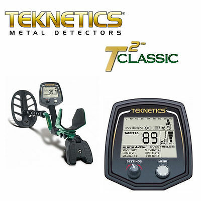 """Teknetics T2 Classic Metal Detector  with 11"""" DD Coil ( NEW) Waterproof coil"""