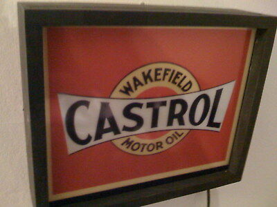 ***Castrol Oil Gas Service Station Garage Advertising Man Cave Lighted Sign